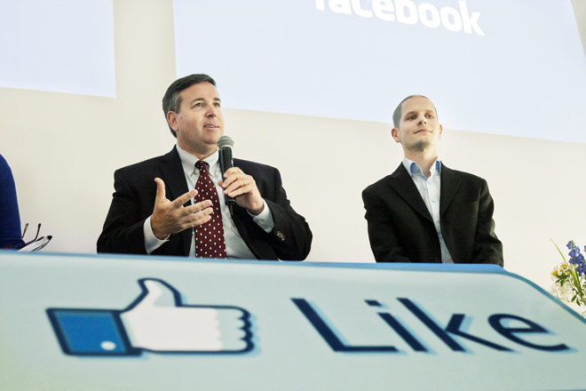 Furlong, vice president of site operations at Facebook, and Kjellgren, data centre manager, attend a news conference in Lulea